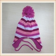 Children  Lovely 100% acrylic knitted earflap hat with fringes/tassel on top