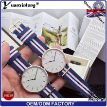 Yxl-620 Stainless Steel Back Case Couples Wrist Watch for Men and Women Wtih Nato Nylon Straps