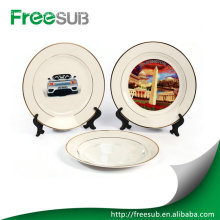 "Ceramic 10"" double gold rimmed plates"