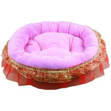 Pink Plush Round Cushion Pet Bed