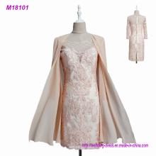 2017 Encaje Madre de los vestidos de novia con chaleco de gasa 3/4 mangas Applique mujeres formal vestido de fiesta de noche