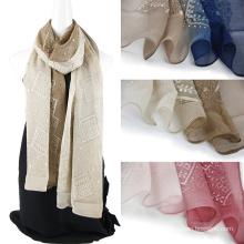 Broderie à l'écharpe en soie personnalisée à deux tons avec des paillettes