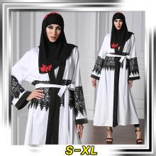 diseño de moda mujeres suaves musulmanes poliéster y encaje spandex de moda jilbab abaya