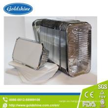 Envase de comida rectangular durable del papel de aluminio con la tapa del tablero