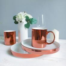 Plato de postre de cerámica de oro rosa único