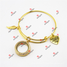 Fashion Gold Brass Locket Charms Dangles Bangles Bracelets (DEW60226)