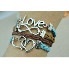 Brown & Blue cuff leather bracelet,Silvery Love Bracelet,Infinity Bracelet,Woman's leather bracelet KSKS-43