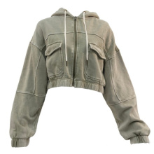 Hot Sale Vintage Appearance Personality Hooded Street Casual Cropped Bomber Women Jacket
