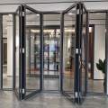 Double Tempered Glass Black Aluminum Bifold Doors