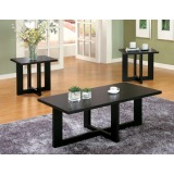 Set of 2 Black Wooden Cheap Modern Coffee Table