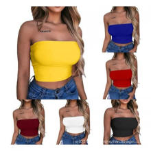 Custom Women Plain Tube Tops Wholesale Cheap Strapless Blank Crop Tops