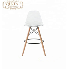 Alibaba China suppliers new product Scandinavian look Nordic style plastic seat and wood legs plastic dining chair bar chair