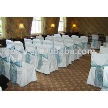 Couverture de chaise de polyester, housses de chaise de banquet/mariage, ceinture d'organza