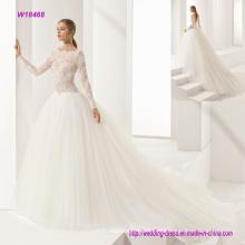 изящный кружевной лиф и воротник Принцесса свадебное платье с красивым природным слайд паутинка юбка
