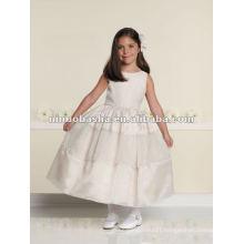 Sleeveless organza and iridescent organza tea-length flower girl dress