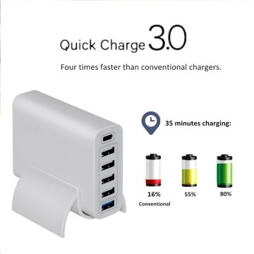 Chargeur mural USB PD Type-C 3.0 60 W 6 ports