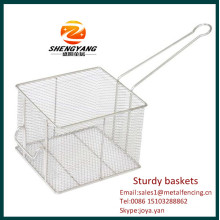 New fashion stainless steel fryer inserts sturdy KFC chips baskets rectangular sturdy baskets