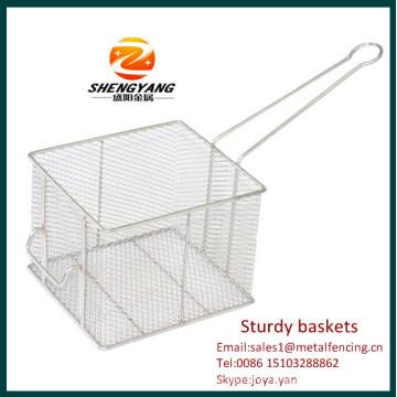 New fashion stainless steel fryer inserts sturdy KFC chips baskets rectangular sturdy baskets