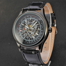 Automatic leather strap skeleton mens sport watches