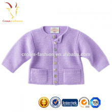 Lovely Plain Pure Cashmere Kids Cardigan