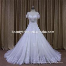 short sleeves beading sash lace a-line wedding dress