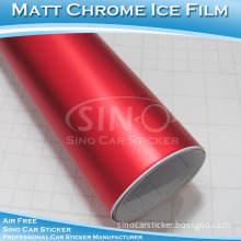 Guarantee 3 Years Air Free Stretchable Ice Red Vinyl Matte Chrome Film