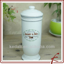 White Glaze Decal Ceramic Facial Tissue Box
