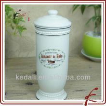 White Glaze Decal Ceramic Facial Tissue Box
