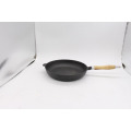 Cast Iron Skillet With Wooden Hot Handle
