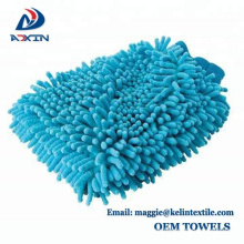 Super plush long pile auto detailing microfiber chenille car wash mitt cleaning glove