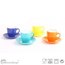 8oz Glazing Copa de cerámica colorida y platillo lavavajillas seguro