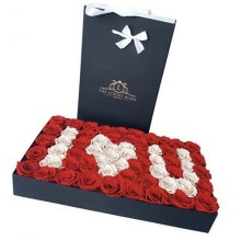 Rectangle flower box with gold logo