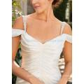 NA1027 Chic simples de uma linha de decote em V fora do ombro vestido de noiva de cetim macio 2015