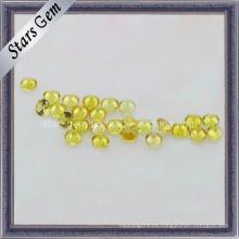 Piedra preciosa de zafiro sintético amarillo redondo redondo