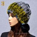 2017 Factory wholesale custom women winter hats rabbit hat with fur ball