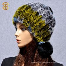 2017 Fabrik Großhandel benutzerdefinierte Frauen Winter Hüte Kaninchen Hut mit Pelz Ball