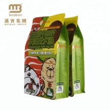 Paquet scellé latéral d'aliment pour animaux familiers de fermeture à glissière du fond de boîte d'Oem / Odm huit et sac d'emballage alimentaire d'animal familier