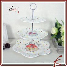 flower shape ceramic tiered cake stand