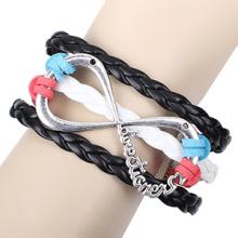 novo multi cor veludo preto cabo couro grande infinito pulseiras prata metal antigo acessórios trançado pulseira por atacado
