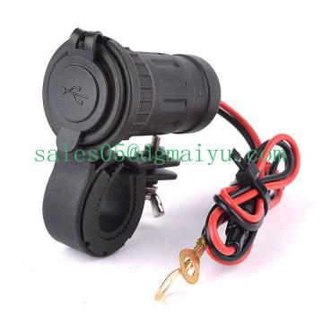 Cargador USB de motocicleta para teléfono con soporte