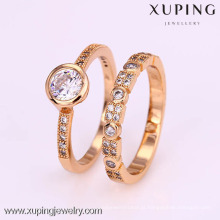 12312-Xuping 18K Conjunto em ouro amarelo anel de noivado de diamante