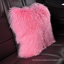 "Amazon most popular 18"" x 18"" 20"" x 20"" curly hair Tibetan/Mongolian  Lamb Fur Pillow Cover"