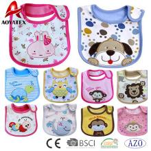 nouveau design coton brodé bébé bavoirs polyester impression mignon bébé bave bavoirs