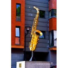 Art déco riproduzioni métal artisanat bronze saxophone sculpture pour jardin