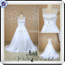RSW502 White And Silver Embroidery Designs For Wedding Dresses For Fat Woman
