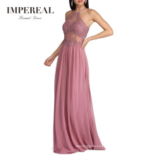Halter Neck Party New Fashion Ladies Pink Cocktail Dress For Women
