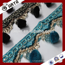 stock goods beautiful pompon fringe for curtain deco and lamp decoration