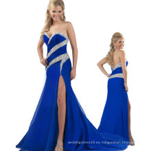 Vestido de noche sin tirantes Backless del vestido de partido del vestido del desfile del azul real con el RO11-19 cristalino