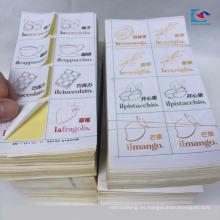 Las etiquetas engomadas brillantes del helado del papel revestido de la laminación llevan etiquetas de los alimentos