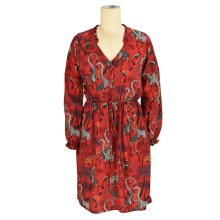 Hot selling new style printed summer chiffon long sleeve boho beach wear floral maxi dress